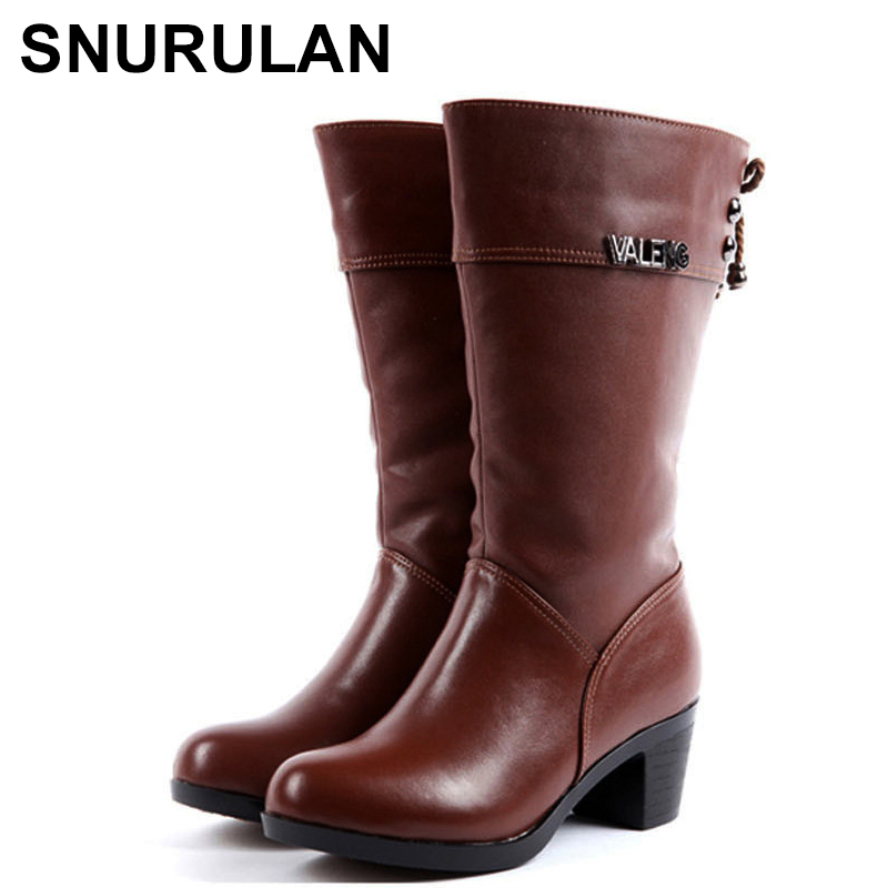 SNURULAN Women warm wool Autumn Winter Genuine Leather High Boots Fashion ladies Thick heels Woman Round toe Shoes Womens Boots автокресло zlatek atlantic группа 1 2 3 grey крес0167