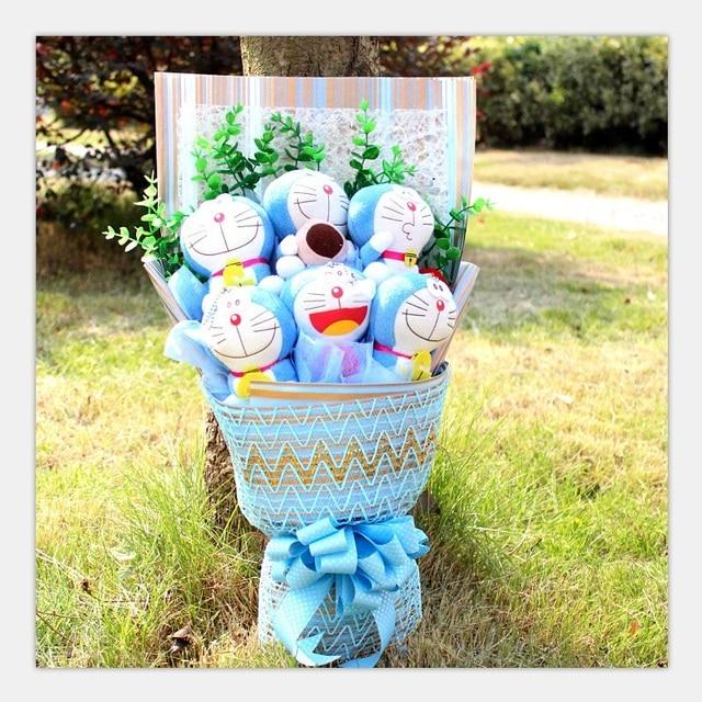 Hot Cute Cartoon 6 Blue Doraemon Jingle Dolls Artificial Roses Flowers Bouquets Wedding Decor Birthday Valentine's Day Gift