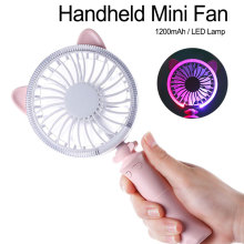 купить Portable Handheld Summer Cooling Fan Electric USB Power Mini Fan Cooler with LED Light for Home Office Student Fan Gift по цене 643.5 рублей