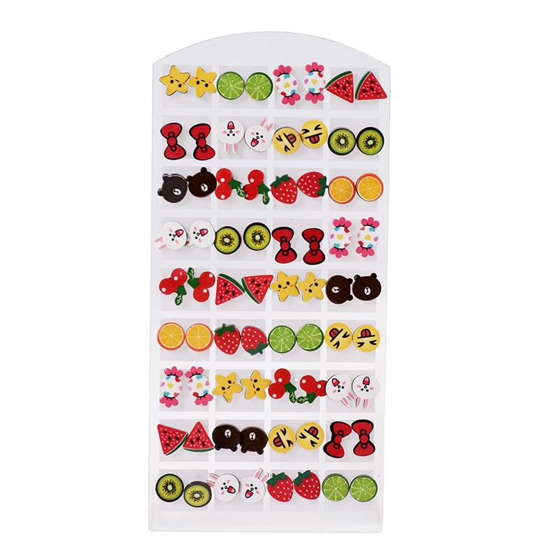 36pairs/Set Mixed Styles Cartoon Pattern Stud Earrings Handmade Polymer Clay Christmas Earrings For Girls Children Jewelry