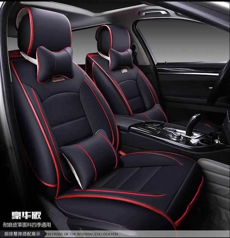 Роскошные кожаные чехлы для сидений автомобиля спереди и сзади полный комплект универсальный для Cruze Lavida Focus Benz BMW и т. д. полностью обволакивается - Название цвета: Black Deluxe
