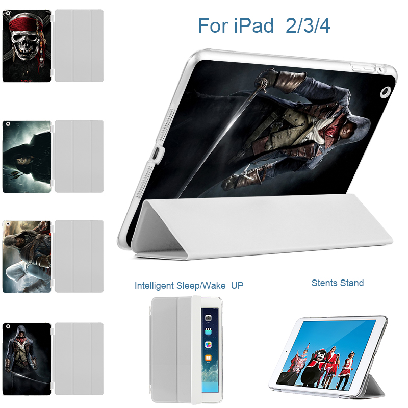 Printed Assassins creed Case For Apple ipad 2 3 4 Case Sleep / Wake Up Smart Stand Flip PU Leather Cover For New ipad 3 ipad 4 for apple ipad 2 3 4 case flip litchi pu leather cover for ipad 3 ipad 4 smart stand holder folio case auto sleep wake up