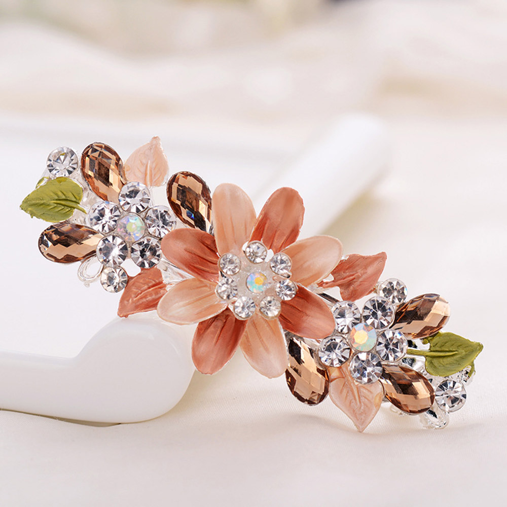 Hot Selling New Fashion Women Flower Barrette Clips Hairpin Hair Pin Rhinestone Crystal Hair Accessories Jewelry Retro Stick