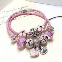 Best подарок для подруги розовый цветок сердца серии 16 22 см может быть выберите 925 пробы серебро розовый цвет кожи веревку браслет