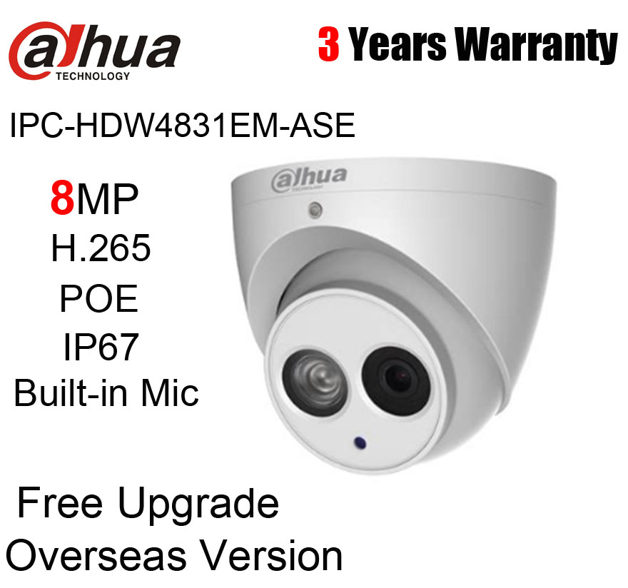 Duhua IPC-HDW4831EM-ASE 8MP H.265 POE IP67 IR 50m Dome IP Camera IPC-HDW4831EM-ASE Network Camera with logo free shipping dahua cctv camera 4k 8mp wdr ir mini bullet network camera ip67 with poe without logo ipc hfw4831e se