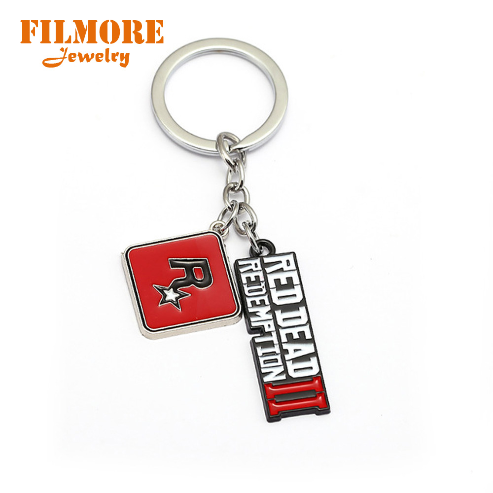 Red Dead 2 Redemption Keychain Rockstar Game Pendant Metal Key Ring Holder Men Car Women Bag Key Chain Chaveiro Jewelry