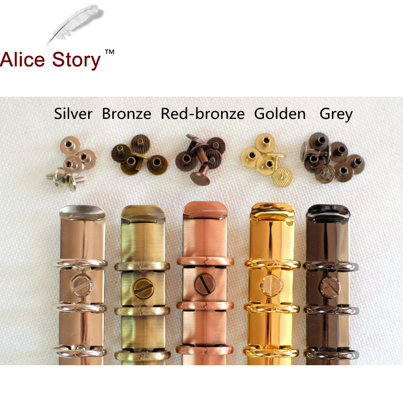 Alice Story New Colorful Screws For Spiral Binder 5 Colors Silver/Bronze/Red Bronze/Grey/Golden 10 Pairs/lot Loose-Leaf Binder