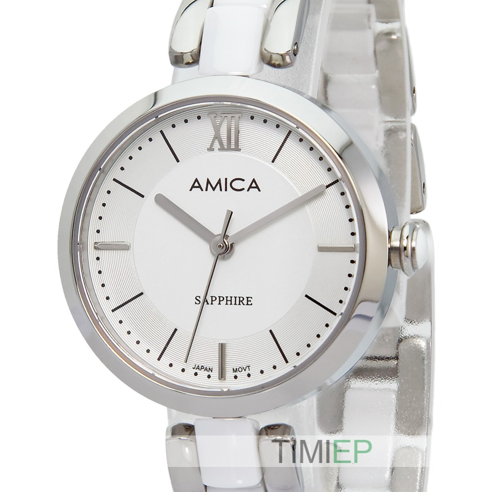 Amica Women's D-Ceramics Quartz Sapphire Silver Tone Stainless Steel Wrist Watches A-1-5 amica women s d ceramics quartz sapphire silver tone stainless steel wrist watches a5 9