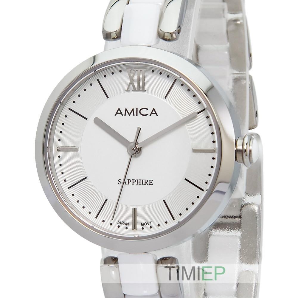 Amica Women's D-Ceramics Quartz Sapphire Silver Tone Stainless Steel Wrist Watches A-1-5 amica women s d ceramics quartz sapphire silver tone stainless steel wrist watches a 1 5