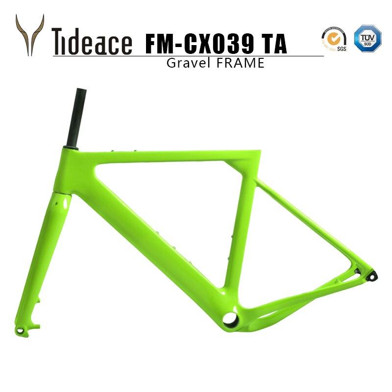 Tideace 2019 Post mount Aero ghiaia Telaio Della Bicicletta S/M/L A Disco Della Bici del Carbonio di Ghiaia telaio QR o perno passante