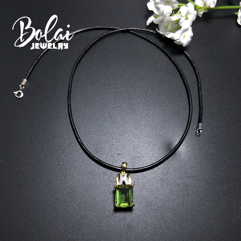 Bolai jewelry color change Zultanite necklace created gemstone quot Eyes catching quot pendant leather chord neaklace 925 sterling silver in Pendants from Jewelry amp Accessories