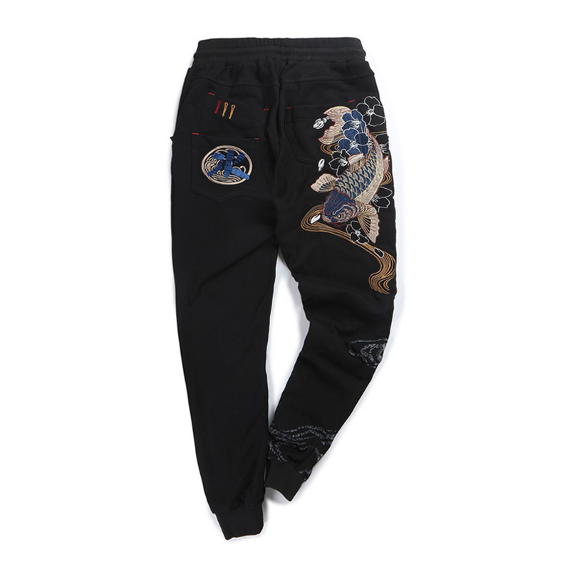 Embroidered Carp Casual Fashion Brand Velvet Trousers Elastic Waist Appliques Full Length Loose Cotton Linen Pants Men Cargo