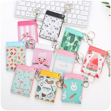 YIYOHI Cute Flamingo Shaped Named Card Holder Identity Badge with Lanyard PU Neck Strap Card Bus ID IC Holders With Key Chain