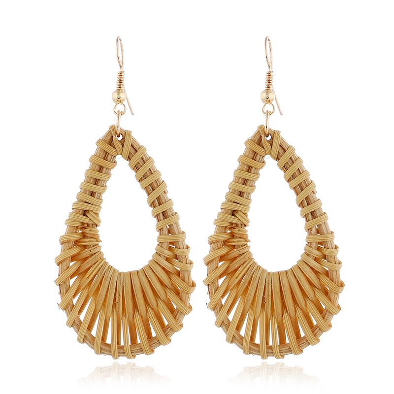 Bohemian Wicker Rattan Knit Pendant Earrings Handmade Wood Vine Weave Geometry Round Statement Long Earrings for Women Jewelry 26
