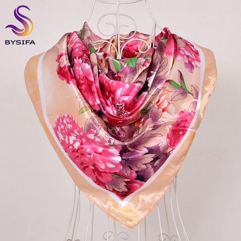 [BYSIFA] Spring Autumn Beige Pink Peony Silk   Scarf   Shawl Women Fashion Brand Peony Square   Scarves     Wraps   90*90cm Winter HeadScarf