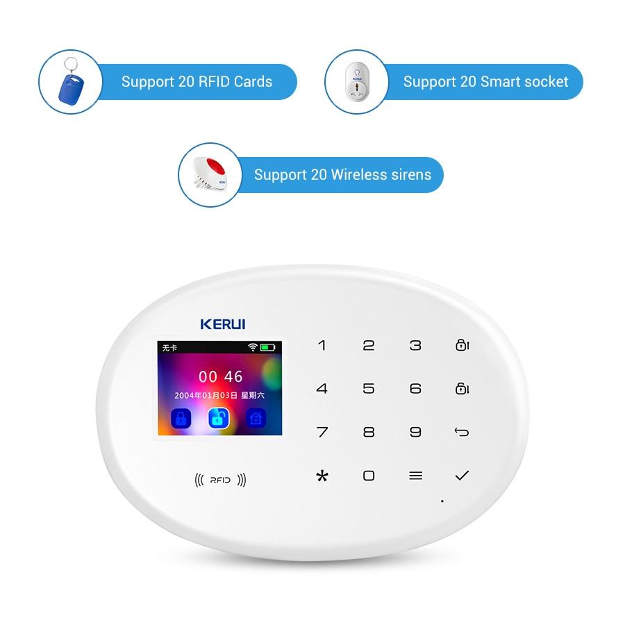 KERUI Home Security Umschaltbar Sprache WIFI Alarm System W20 Drahtlose APP Fernbedienung 2,4 Zoll Bildschirm Alarm Armaturen Kit