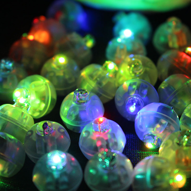 100Pcs/lot Color Round Mini Led RGB Flash Ball Lamp Put in paper Lantern Balloon Lights For Christmas Wedding Party Decoration