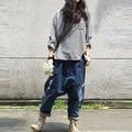 Boyfriend Jeans para mujeres cruzadas pantalones Distressd Jeans Ripped Loose Fit cena de baja de la entrepierna de algodón Denim moda pantalones Cargo DD01