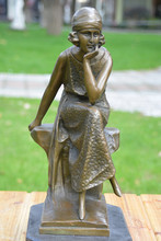 The bronze statue of female ornaments meditation Girl Crafts jewelry Home Furnishing thinker birthday gift