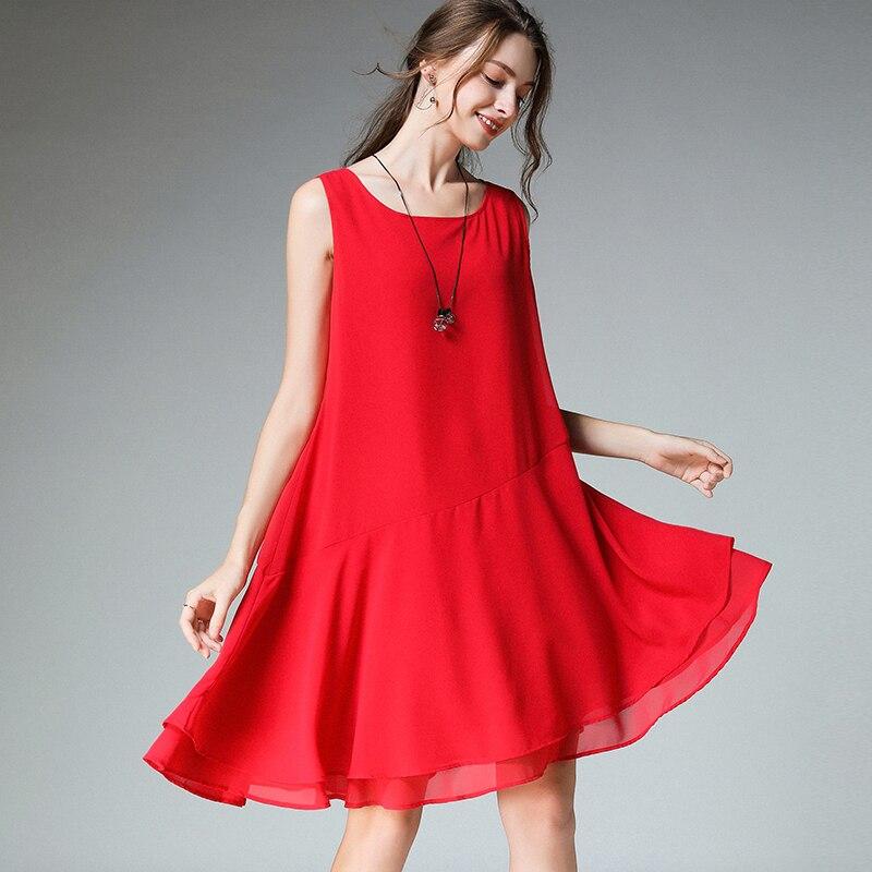 Mousseline de soie robe d'été rouge grande taille sans manches 2019 femme noir réservoir basique en mousseline de soie plage décontracté fête mode dame robes femme