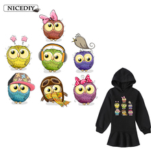 Nicediy Lovely Owl Patch Heat Transfer Iron On Patches On Clothes Stickers Print By Household Irons Applique Washable Badge DIY цена