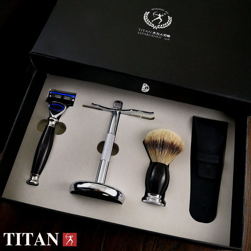 Titan shaving razor set with gift box woodle handle badger hair brush baber razor set titan razor brush shaving brush with wooden handle best badger hair brush