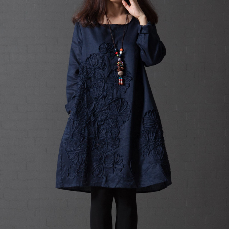 EaseHut Retro Women Autumn Dress Elegant O-neck Long Sleeve A-line Floral Dress Plus Size Spring Winter Cotton Linen Midi Dress