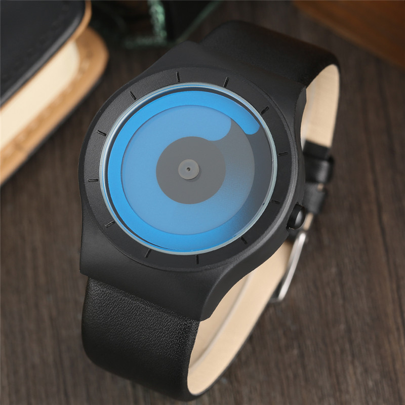2018 New Arrival Men Watch Leather Black Watches Wrist Creative Turntable Vortex Style Male Clock Fashion Valentine's Gifts Hour