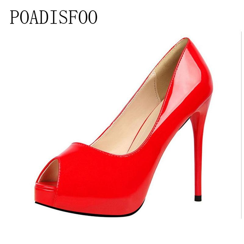 POADISFOO 2018 נשים משאבות אופנה פשוט גבוהה עם עמיד למים פטנט עור סקסי Slim מועדון לילה נעלי בוהן ציוץ. PSDS-1675-1