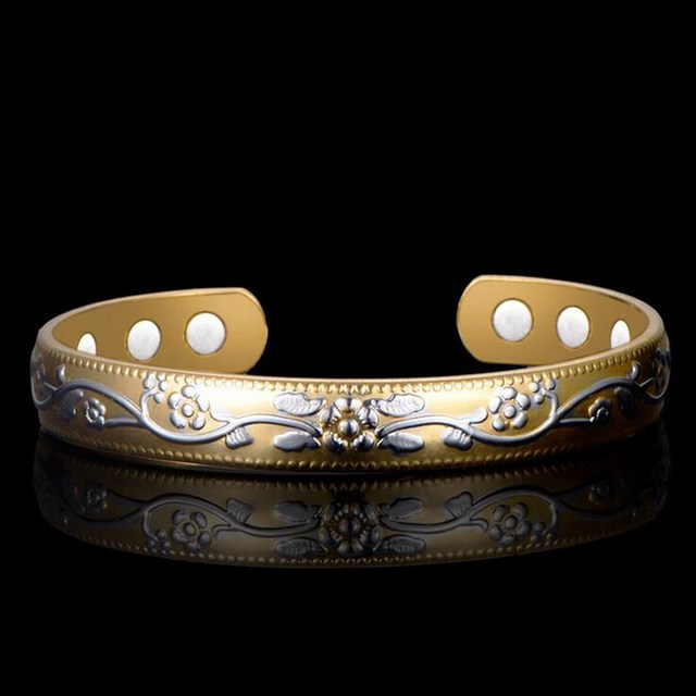 Jinao Vintage Flower Healing Magnetic Copper Bracelets For Arthritis Women With Magnets Men S Cuff Bangle Christmas