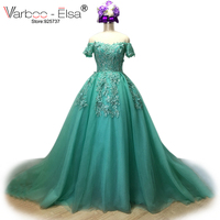 VARBOO ELSA 2018 Vestido De Festa Mint Green Tulle Evening Dresses Long Bling Bling Applique Prom