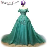 VARBOO ELSA 2018 Vestido De Festa Mint Green Tulle Evening Dresses Long Bling Bling Applique Prom