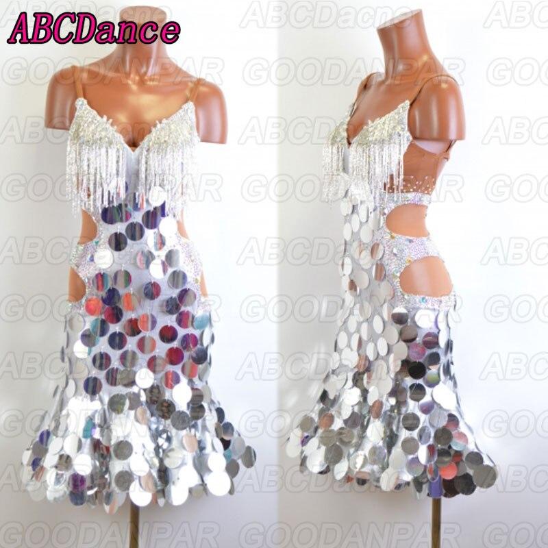 Latin Dance Dress Women Silver Sequins Dress For Latin Dancing,tango Dress