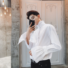 Stand collar lotus leaf laciness long-sleeve shirt male personality  novelty sleeve men's clothing