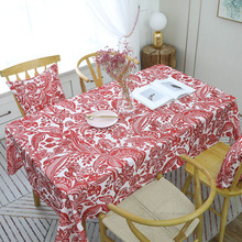 European Style Waterproof Red Flower Printed Tablecloth Rectangular Table Cover Wedding Party Home Textile Decor tafelkleed Hot