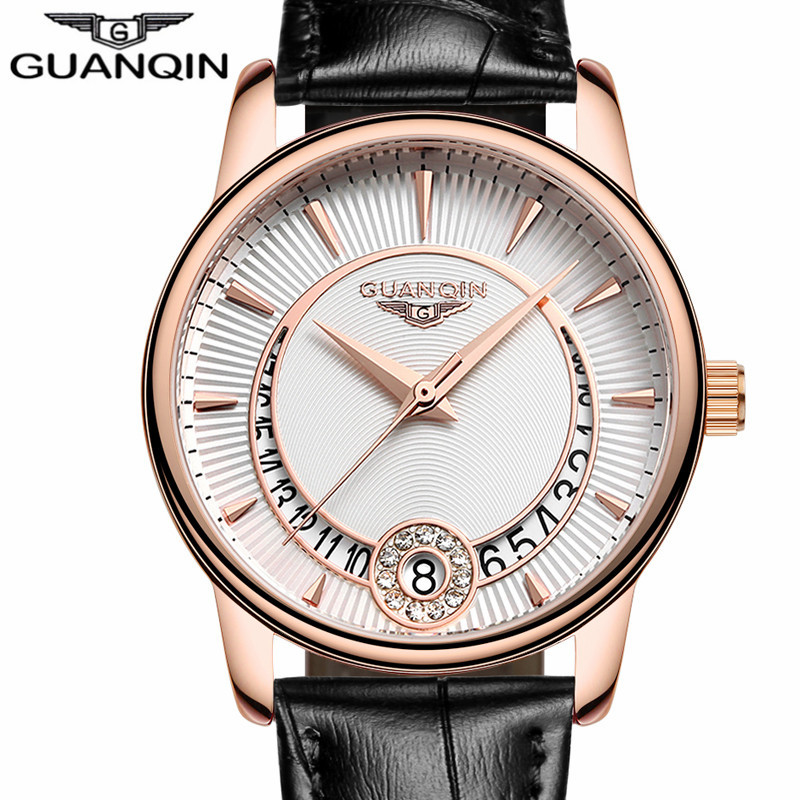 GUANQIN  Women's  Casual Quartz Watch Women Clock Gold Case Leather Strap Ladies Luxury Jewelry Watches relogio feminino
