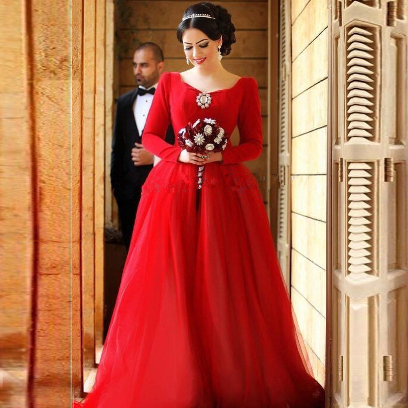 Amazing Plus Size Red Evening Dress With Long Sleeve Women Formal