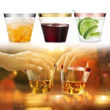 18 шт. 270 мл Необычные одноразовые пластиковые стаканы золотой оправе Свадебные чашки шампанское красное вино десерт, мороженое желе дегустация чашки
