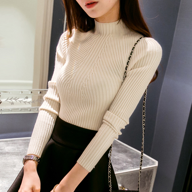 New 2018 Spring Fashion Women sweater high elastic Solid Turtleneck sweater women slim sexy tight Bottoming Knitted Pullovers