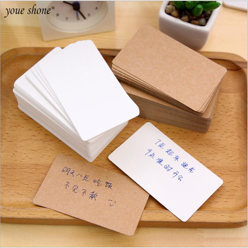 100Pcs/Box Solid Color Retro White CardBoard Memo Word Card Message Simple Style For Office School Supplies Notepad Notes
