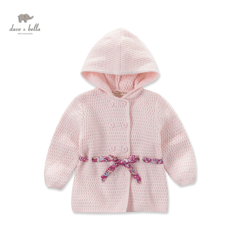 DB3710 dave bella autumn baby girls pink hooded sweater girls pink outerwear kid sweater cardigan эра ecsa 3710