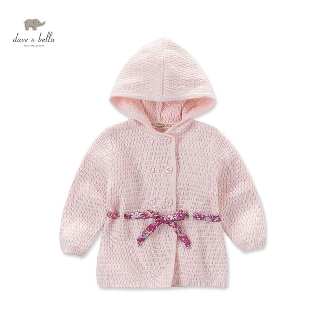 DB3710 dave bella otoño bebé rosada de las muchachas de suéter con capucha chicas rosa ropa de abrigo niño suéter cardigan