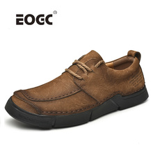 Full Natural Leather Shoes Men Top Quality Handmade Casual Loafers Plus Size Flats Outdoor Waterproof