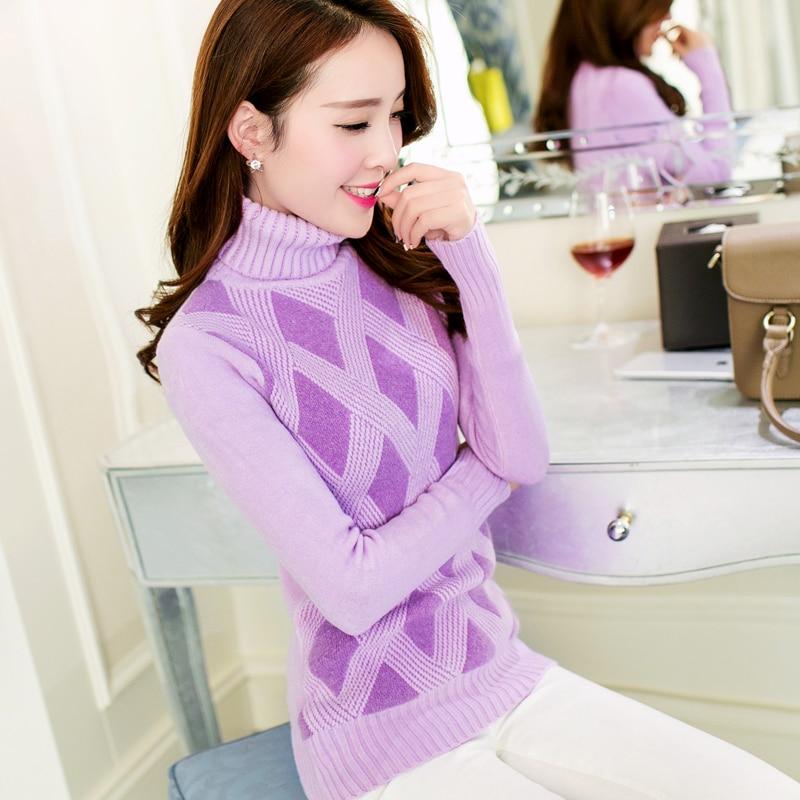 Womwen Knitting Sweater Winter 2018 Fashion Sweet Argyle Turtleneck Thicken Warm Pullovers Elastic Slim Knitted Tops Girl Female