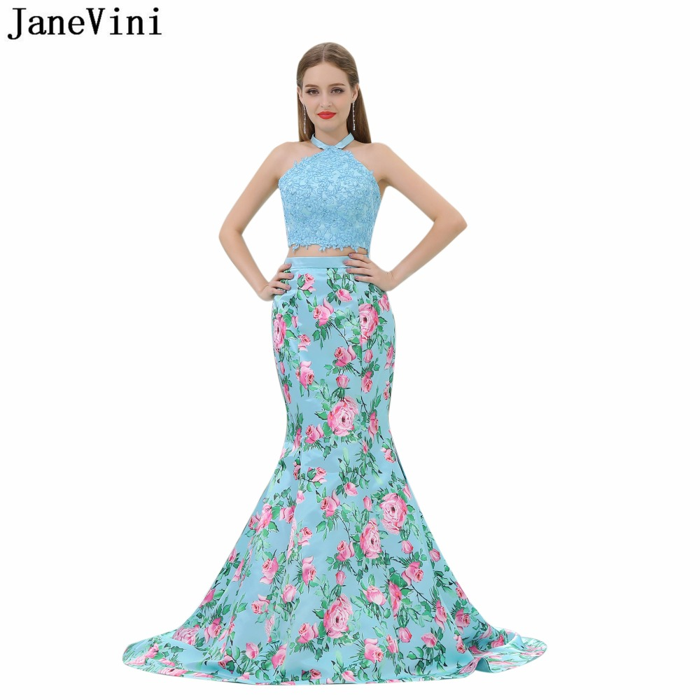 JaneVini Blue Satin Floral Print 2 Pieces   Bridesmaid     Dresses   Halter Lace Applique Beaded Backless Mermaid Prom Gowns Sweep Train