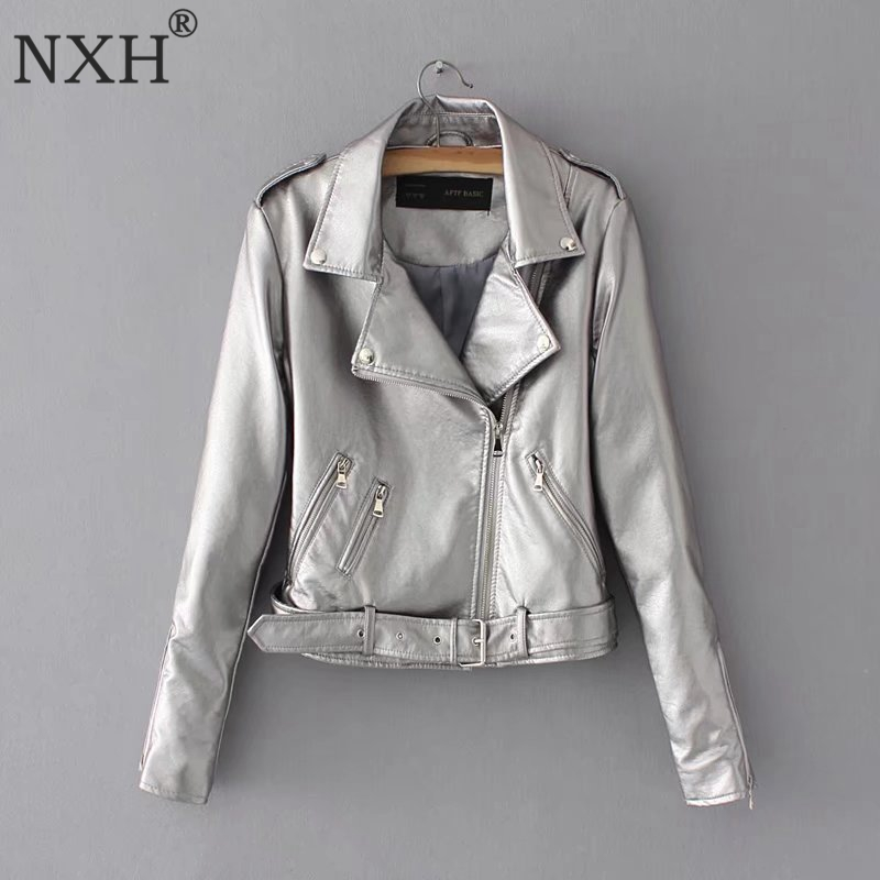 NXH 2018 New Fashion Shiny Fabric Outwear Womens PU   Leather   jacket Ladies Slim Short Faux Soft Slim Silver Golden Sexy club