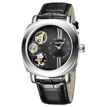 SKONE Автоматические Механические Часы Парни TOP Luxury Водонепроницаемый Кожаный Ремешок Повседневная Часы Часы Скелет