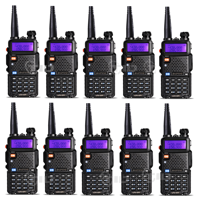 10pcs Baofeng uv-5r Walkie talkie 5W 128CH Dual Band VHF & UHF 136-174 & 400-520MHz Dua Arah Radio