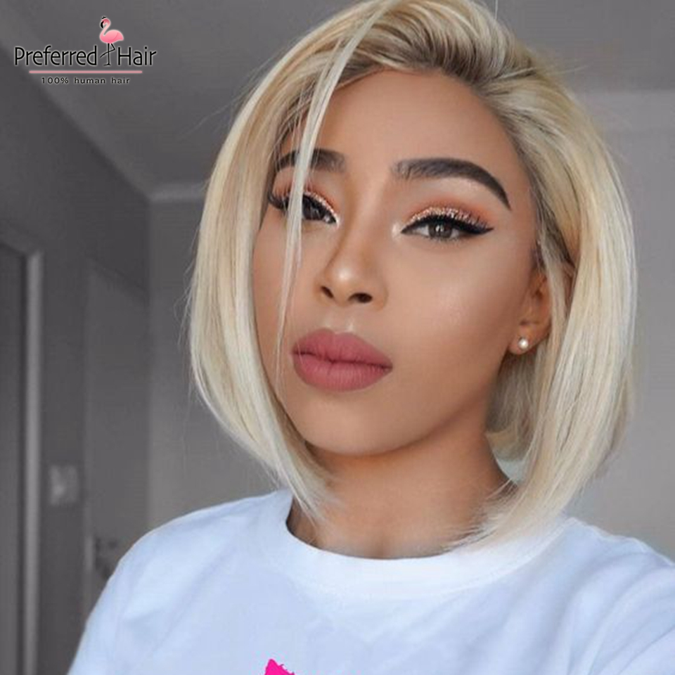 Preferred Bob Lace Front Wigs Brazilian Ombre Human Hair Wig Blonde Remy Hair Pre Plucked For Black Women