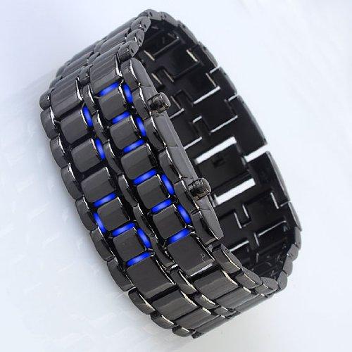 YCYS MAN WATCHES formal business Blue LED Digital WATCHES Black Lava Style Wrist Watch Iron Metal Samurai